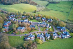 Quarriers Village countryside rural village aerial view from above in Renfrewshire Scotland UK