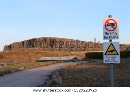 Quarry Ahead With Signs #1329223925