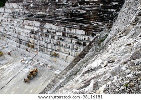 Quarry of white marble in Ruschita, Romania