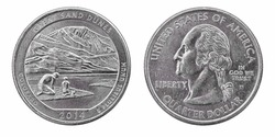 Quarter dollar coin. Great sand dunes of Colorado. 2014 year