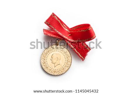 Quarter Turkish Gold Lira. Macro Shot.