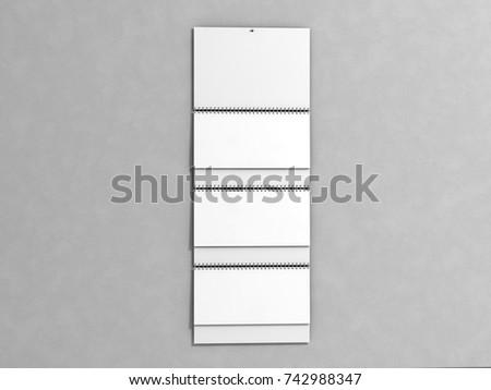 Quarter wall calender, mock up for your design presentation, 3d illustration