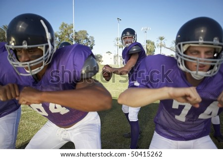 Quarterback Behind Linemen