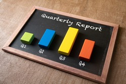 Quarterly report concept. Bar graph on chalkboard. Company stock finance performance and fundamental. Series of photo concept.
