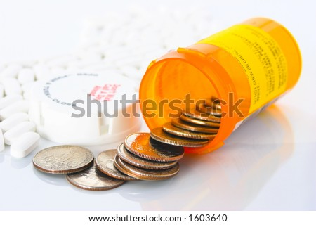 Quarters spilling out of a prescription pill bottle, with bottle surrounded by white pills. Illustrating the high cost of health care.
