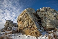 quartzite geological formation carried to the prairie by glacial movement