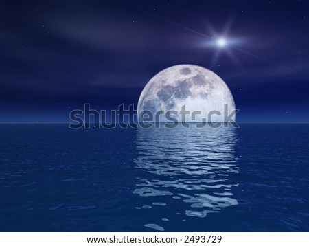 Quasar Star Over Night Moon Over Sea