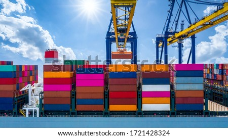 Quay crane, Crane of container terminal in industrial sea port, Sea cargo port with container ship and crane with blue sky background, Business logistic import export transportation by cargo vessel.