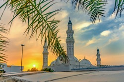 Quba masjid with beautifull sunset background at madina, saudiarabia.