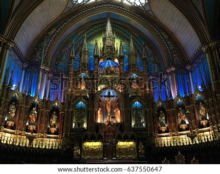 Quebec, Canada August 5, 2015 Interior of Notre-Dame Basilica of Montreal #637550647