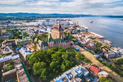 Quebec City boardwalk and Old Port, aerial view, Quebec, Canada.