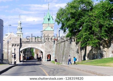 QUEBEC CITY, CANADA - AUGUST 25: Porte Saint-Louis Gate part of Old Quebec, a UNESCO world heritage treasure on August 25, 2010 in Quebec City, Canada.