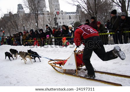 QUEBEC CITY, CANADA - JANUARY 31. Quebec Carnival:  Provincial Dog Sled Racing Championship on January 31, 2009