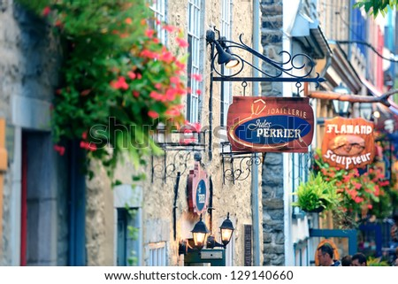 QUEBEC CITY, CANADA - SEP 10: Stores on street on September 10, 2012 in Quebec City, Canada. As the capital of the Canadian province of Quebec, it is one of the oldest cities in North America.