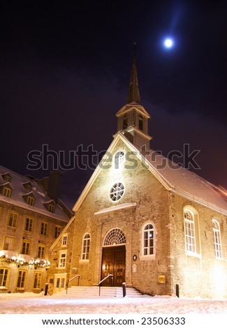 Quebec city famous landmark. The church at Place Royale. Winter in Quebec, Canada.