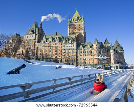 Quebec City in winter, traditional slide decent