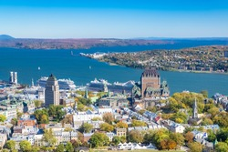 Quebec City, panorama of the town, with the Chateau Frontenac and the Saint-Laurent river
