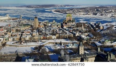 Quebec City Panorama view from Observatoire de la Capitale - stock photo