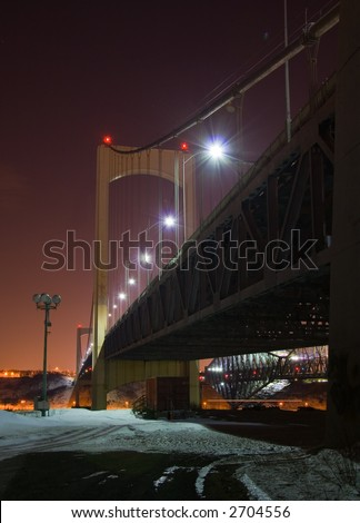 Quebec City's Pierre Laporte Bridge at night in winter
