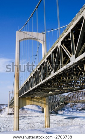 Quebec City's Pierre Laporte Bridge in winter