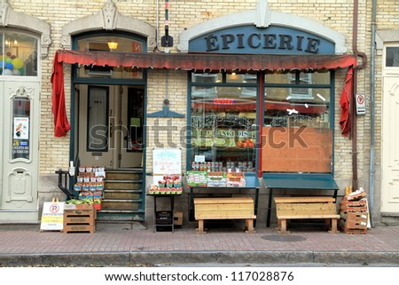 QUEBEC CITY - SEPTEMBER 9: A French store sign on September 9, 2012 in Quebec City. According to the Statistics Canada website, 94.55% of Quebec City\'s population speaks French as their mother tongue.