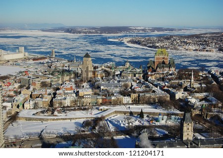 Quebec City skyline viewed from Observatoire de la Capitale, Quebec City, Quebec, Canada