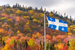Quebec flag and fall colours