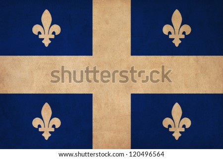 Quebec flag drawing ,grunge and retro flag series