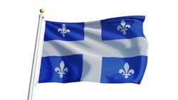 Quebec flag waving on white background, close up, isolated with clipping path mask alpha channel transparency