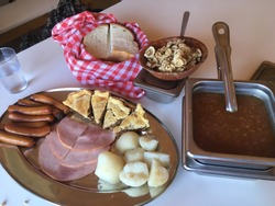 Quebec lunch at maple syrup sugar shack in Canada