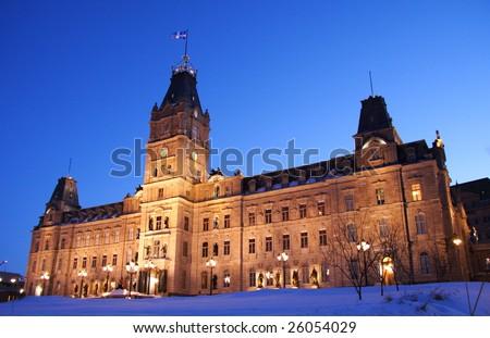 Quebec parliament building (Hôtel du Parlement) in winter Quebec city.