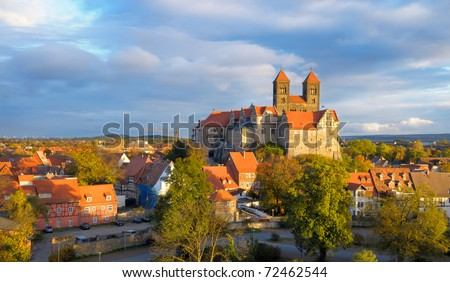 Quedlinburg Castle complex under evening sun in Autumn; Quedlinburg, Saxen Anhalt, Germany