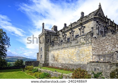 Queen Anne garden and Royal Palace at Stirling castle, Scotland. Located in Stirling, is one of the largest and most important castles, both historically and architecturally, in Scotland.
