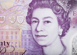Queen Elizabeth ii ultra macro shot on Twenty Pounds Banknote.Macro