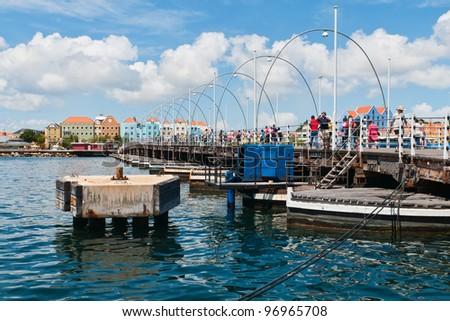 Queen Emma Bridge across the harbor of Willemstad, Curacao