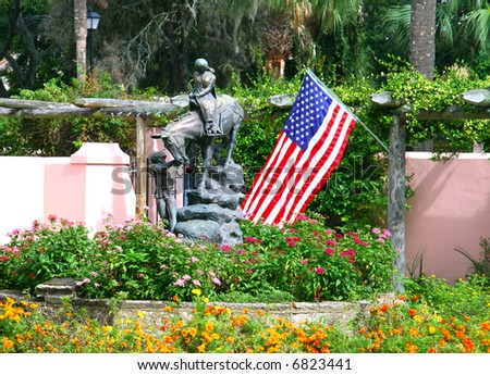 Queen Isabella statue in Hispanic Garden in St. augustine, Florida
