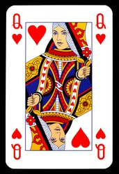 Queen of hearts playing card isolated on black.