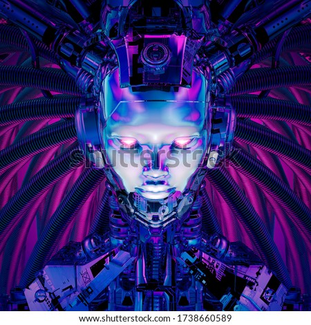 Queen of the datasphere / 3D illustration of science fiction female alien android artificial intelligence