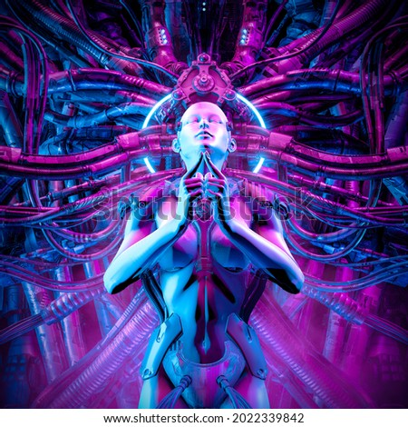 Queen of the machine female cyborg - 3D illustration of science fiction meditating woman android hardwired to complex alien machinery