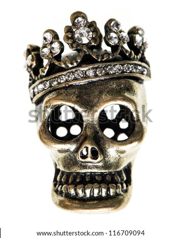 queen or king skull with crown. halloween background