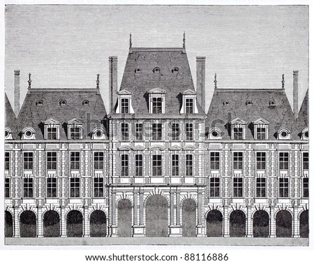 Queen pavilion in place des Vosges (formerly place Royale). By unidentified author, published on Magasin Pittoresque, Paris, 1844