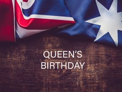 Queen's Birthday. Beautiful, bright card. Close-up, view from above. National holiday concept. Congratulations for family, relatives, friends and colleagues