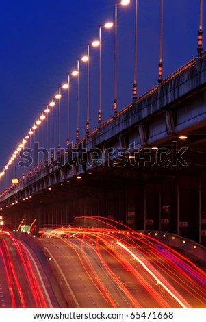 Queen Sirikit Freeway At Twilight, Bangkok