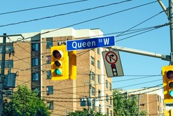 Queen Street Sign in Downtown Toronto