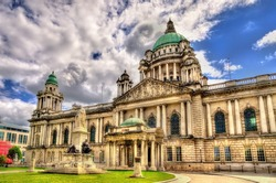 Queen Victoria Memorial and Belfast City Hall - Northern Ireland