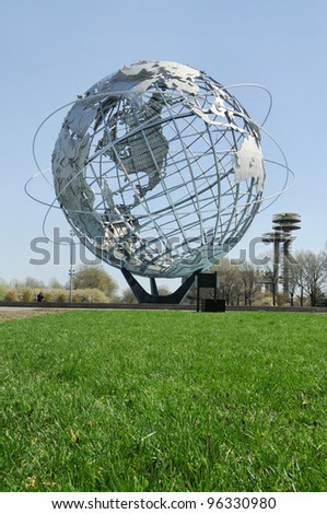 "QUEENS, NEW YORK - NOV 20: Flushing Meadow Park World a symbol of the 1965 NY World's Fair dedicated to ""Man's Achievements on a Shrinking Globe in an Expanding Universe"". Queens Nov 20, 2007."