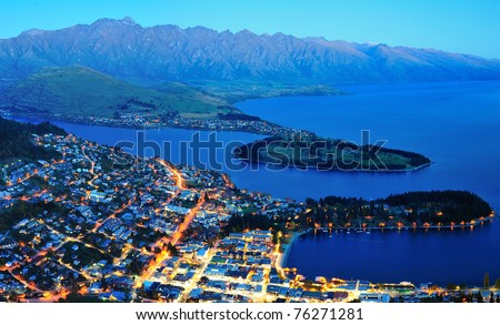 Queens town at night, south island, new zealand