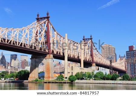 Queensborough Bridge In Midtown Manhattan With New York ...