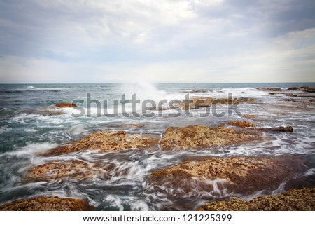 Queensland coastline, the waves - stock photo