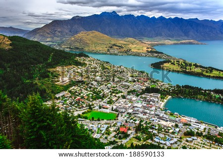 Queenstown downtown skyline with lake Wakatipu from top, New Zealand